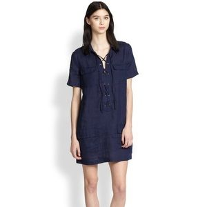 Equipment Dresses - Equipment Blue Knox Linen Lace-Up Dress